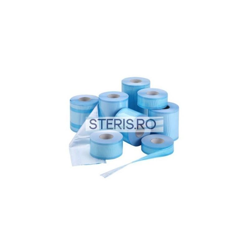 Role sterilizare plate 50 mm x 200 m, fara volum (pliu) cu indicatori abur si etilen-oxid